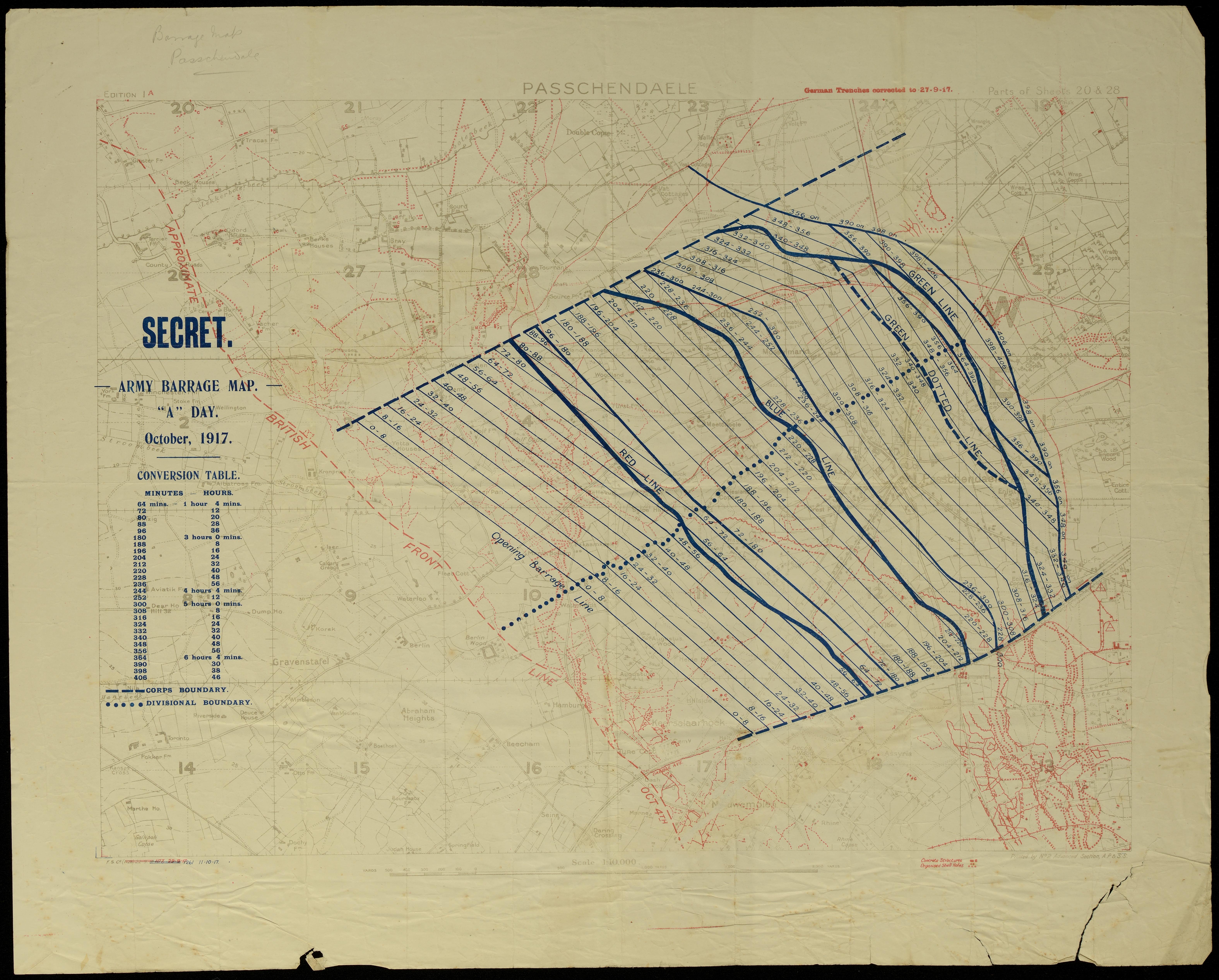 Passchendaele Barrage Map Archives Reference WA 220 Folder 13