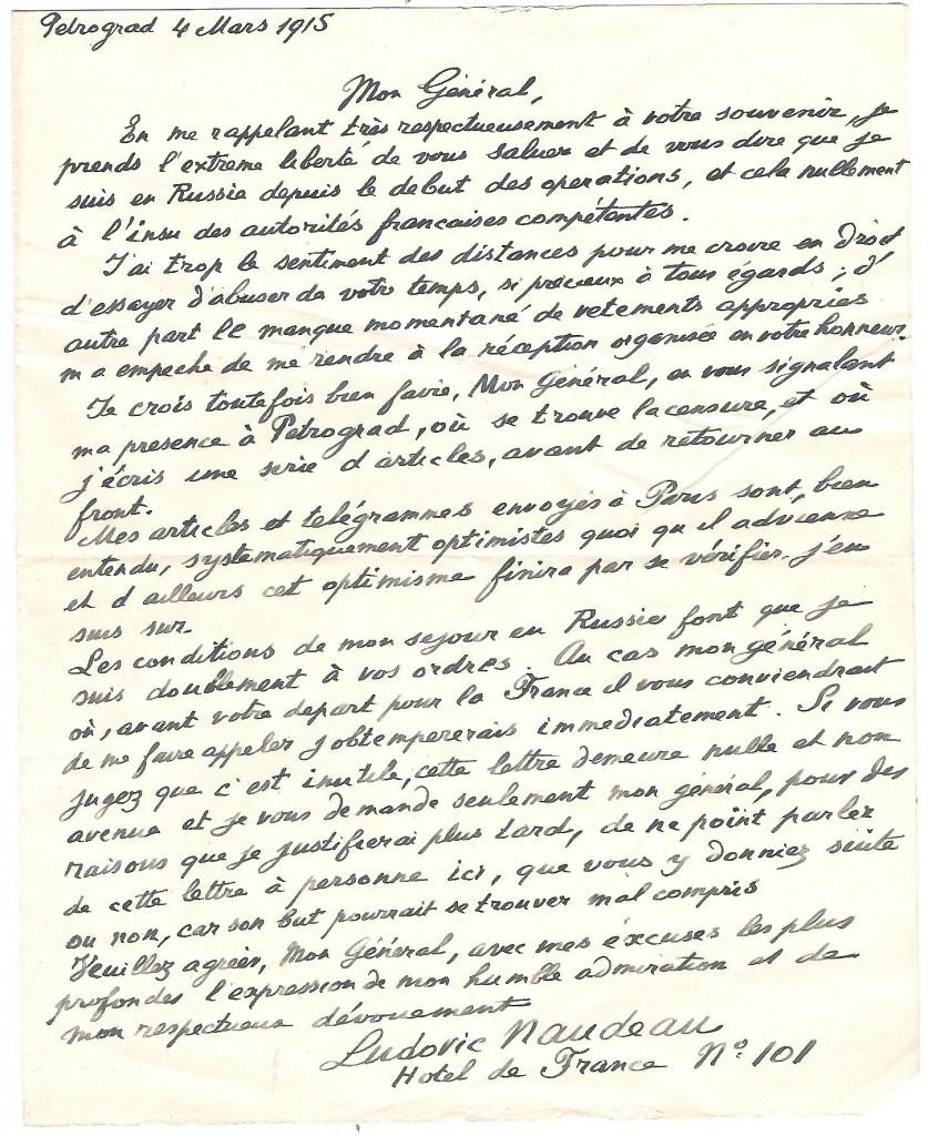 Lettre de Ludovic Naudeau