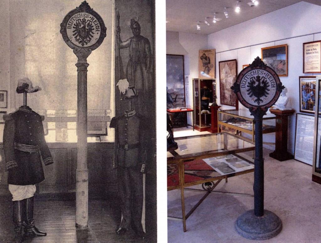A gauche, le poteau frontière au musée du souvenir à Saint-Cyr l'Ecole. A droite, le même poteau au musée du Souvenir à Coëtquidan.