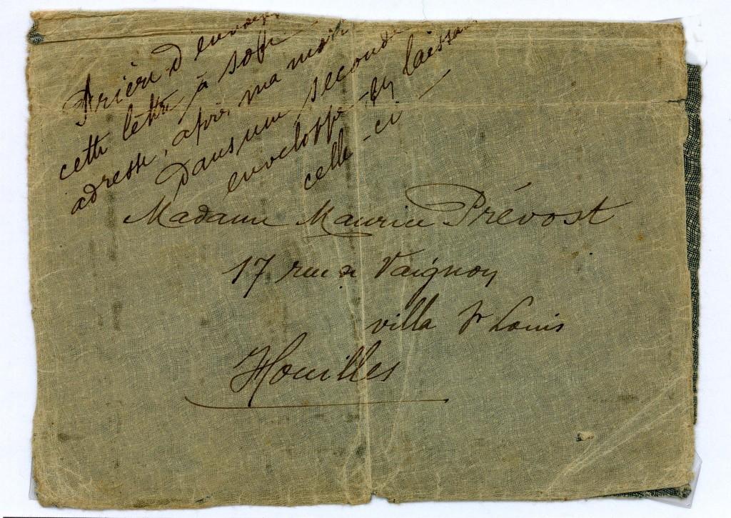 Enveloppe de la lettre testament du sergent Prevost