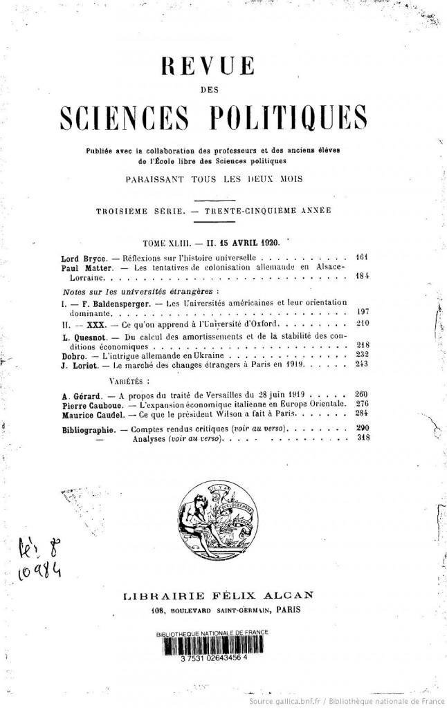 Revue des sciences politiques (avril 1920)