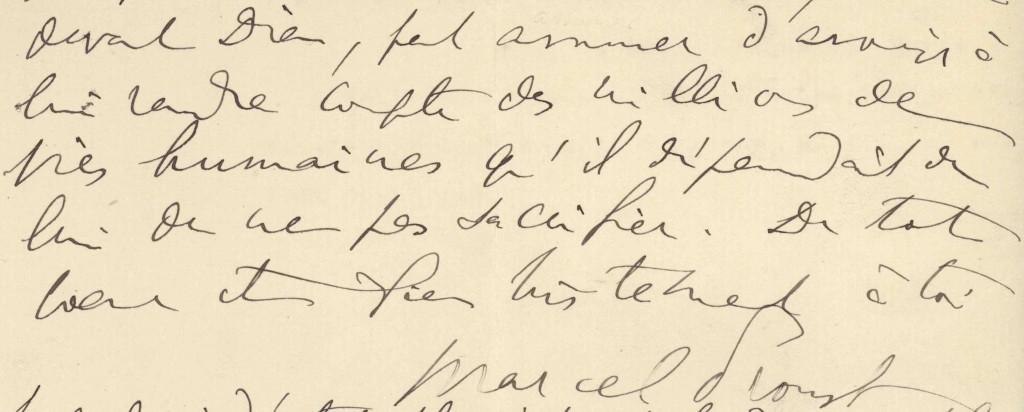 Extrait d'une lettre de Proust à Lionel Hauser (2 août 1914)