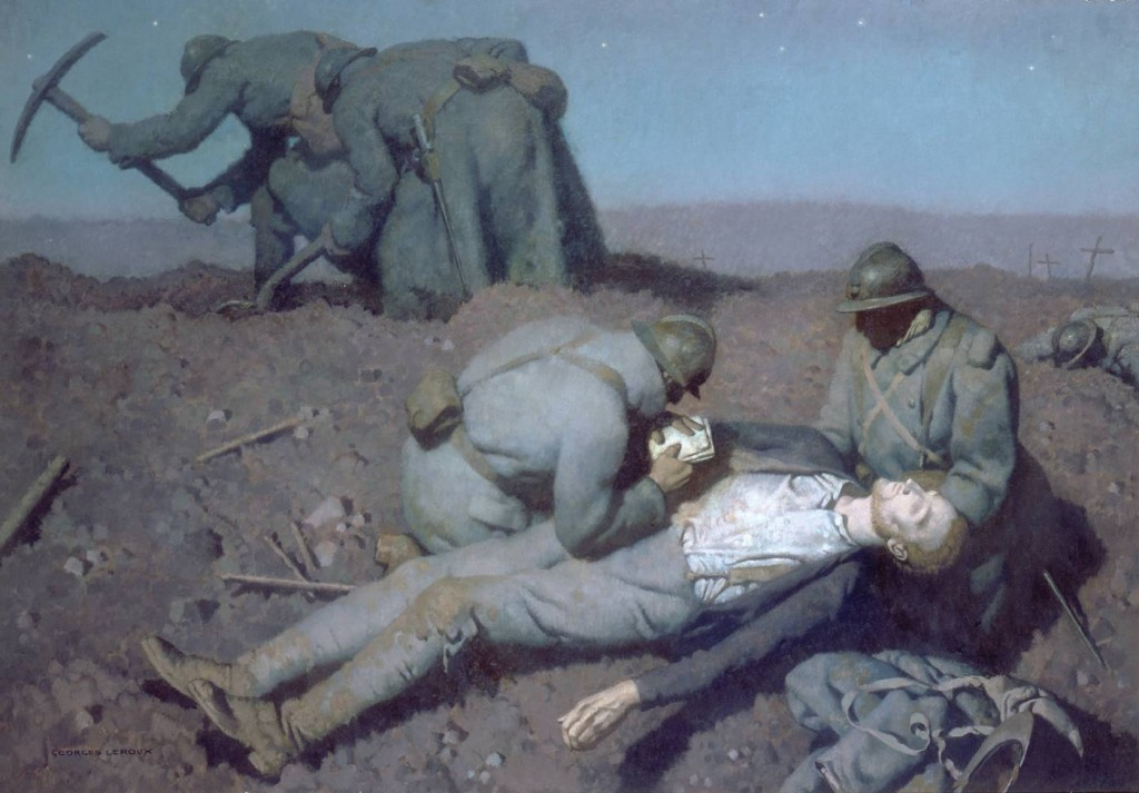 Georges Paul Leroux (1877-1957), Aux Eparges, soldats enterrant leurs camarades au clair de lune, vers 1939 (Cliquer sur l'image pour en savoir plus)