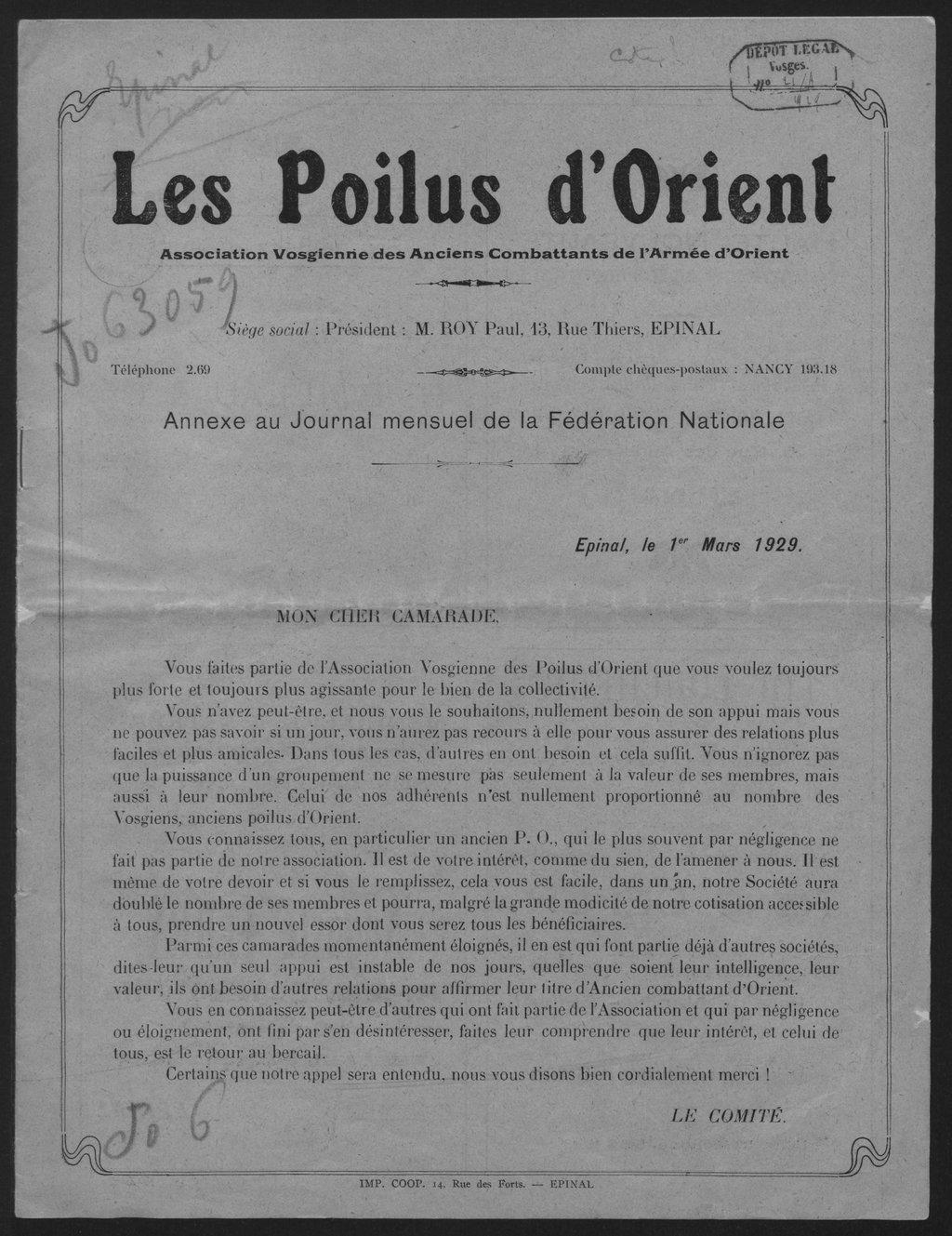 Publication de l'Association vosgienne des anciens combattants de l'armée d'Orient (mars 1929) [Gallica]